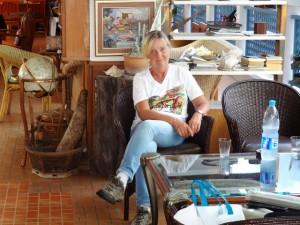 Karin im Guesthouse: Langsam denken wir an die Heimreise